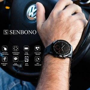 Image 2 - SENBONO 풀 터치 스마트 워치 남성 여성 비즈니스 스포츠 시계 심장 박동 모니터 IOS 안드로이드에 대한 Smartwatch 예측