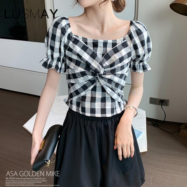Vintage Plaid Bow Design Square Collar Casual Crop Top Women Puff Short Sleeve Top Black Blue 4