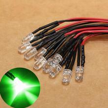 Lâmpada led de alta qualidade, 10 peças, 12v, pré fio, 5mm, lâmpada de diodo brilhante 20cm / 7.874 polegadas pré fiado com 25 graus