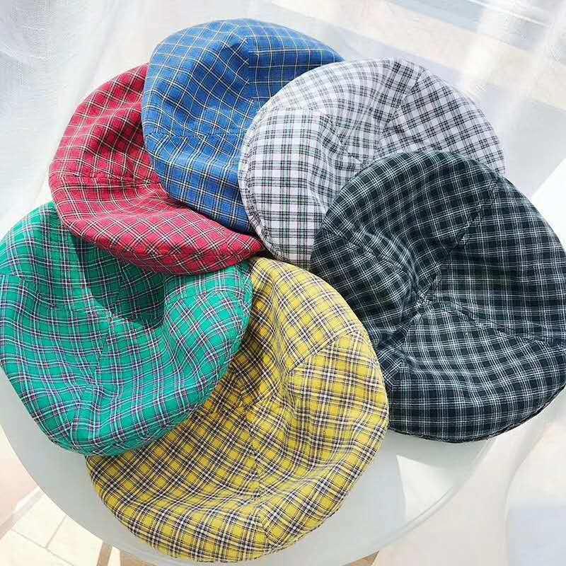 French Style Colorful Lattice Bud Hat Woman Summer British Hat Four Seasons Cotton-padded Cap Cotton Beret Joker Octagonal Hat