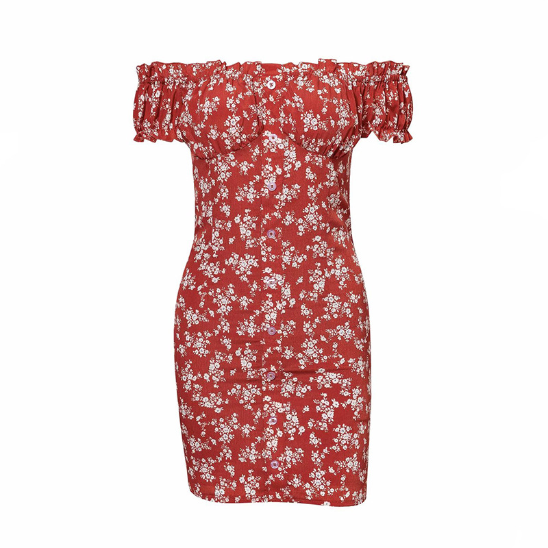 Spring New Style WOMEN'S Dress Western Style Frilled Decoration Horizontal Neck Off-Shoulder Short Sleeve High-waisted Slim Fit