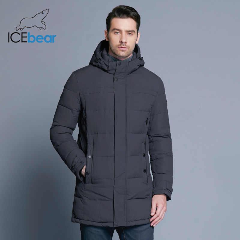 ICEbear 2019 ソフト生地冬男性の肥厚カジュアル綿ジャケット冬中長期パーカー男性ブランド服 17MD962D