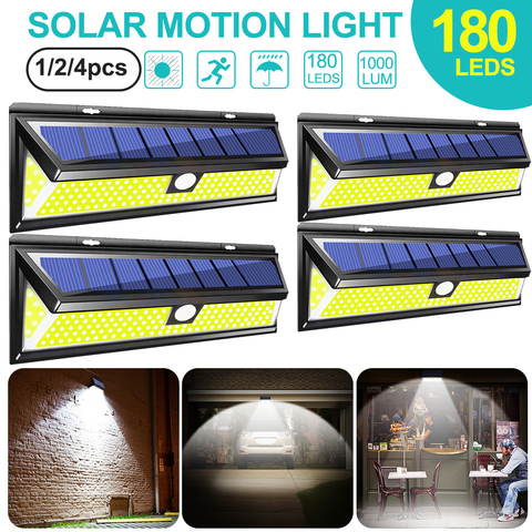 dozzlor 4 pcs 180led cob sensor de movimento solar luz ip65 a prova dwaterproof agua