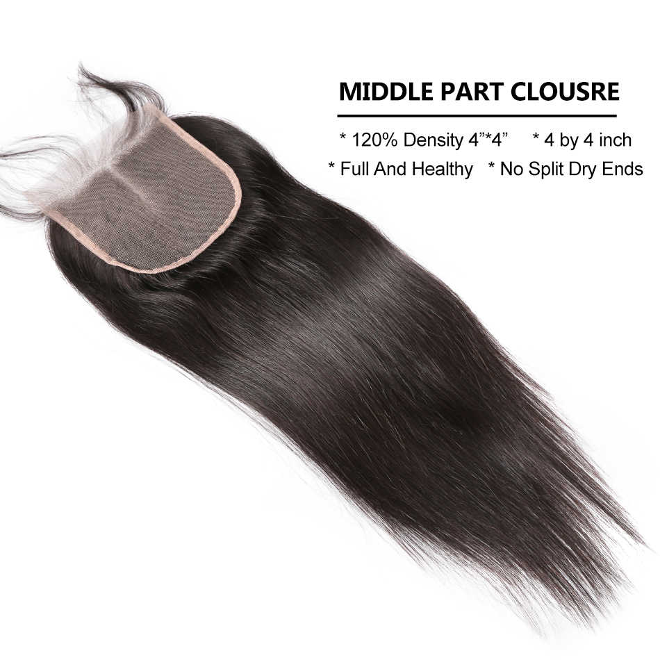Rosabeauty 3 4 demetleri düz saç kapatma ile 8-30 inç doğal renk brezilyalı Remy insan saçı örgüsü kapatma ile Frontal
