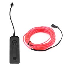 цена на 3M Flexible EL Wire Tube Rope Battery Powered Flexible Neon Light Car Party Wedding Decor With Controller LED Light DropShipping