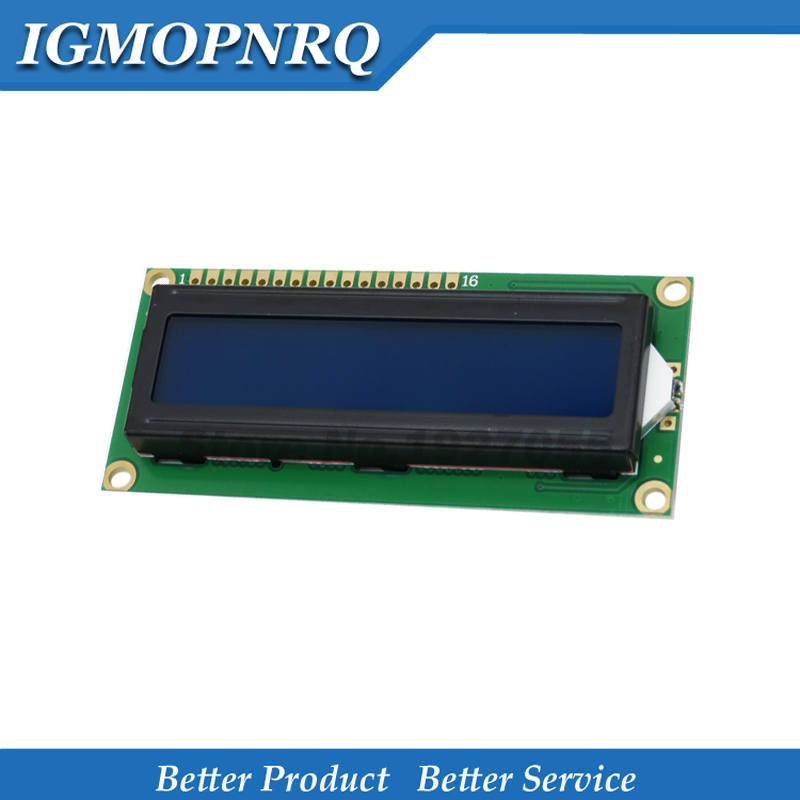 1 Uds. 5V lcd 1602 pantalla azul carácter LCD LCD-1602 Módulo de pantalla azul luz negra nuevo y código blanco