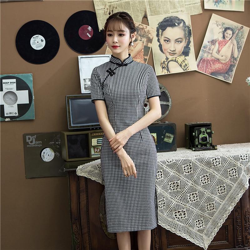 2019 New Style Thousands Of Birds Elasticity Cotton Linen Cheongsam-Style Retro Dress Mid-length Improved Cotton Linen Cheongsam