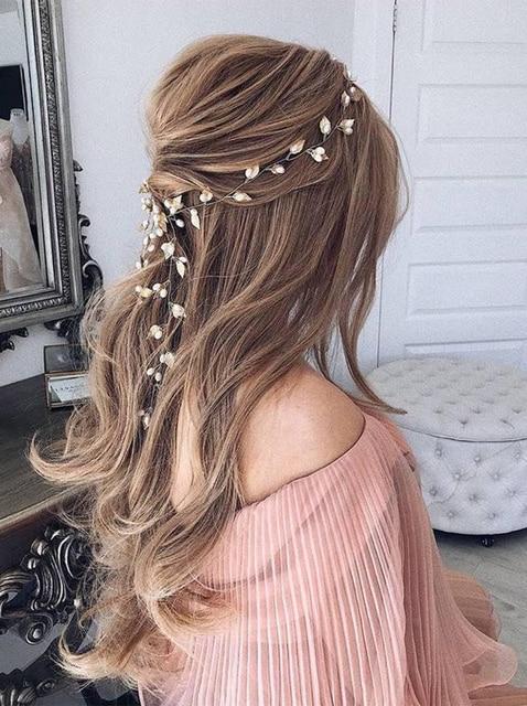 Fxmimior  Bridal Handmade Leaf Pearls Headband Headpiece wedding rose gold hair vine Wedding Bridal Hair Accessories 2