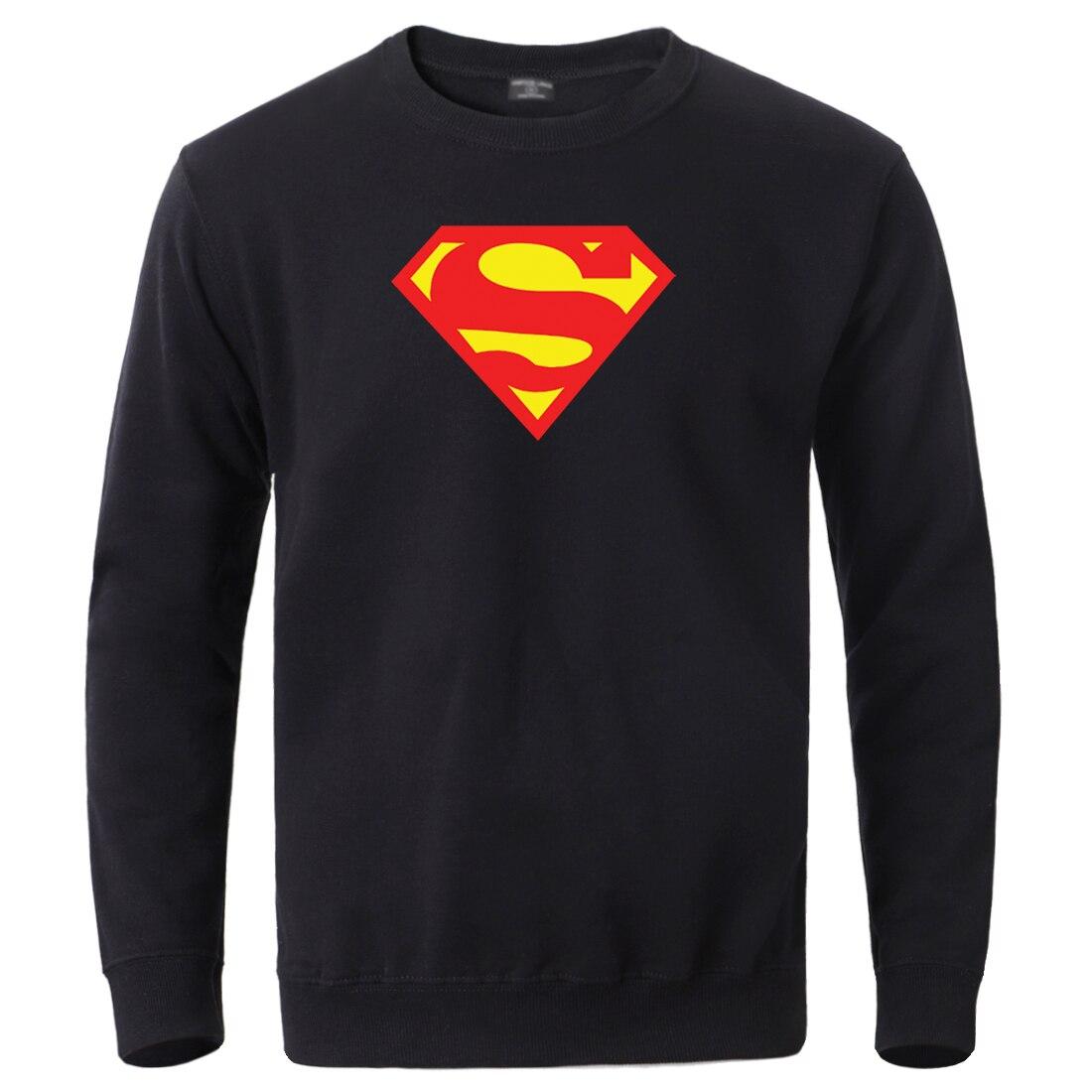 Man Superman Clark Kent Round Neck Sweatshirt Mens Casual Fleece Streetwear Pullover Winter Autumn Warm Outwear Sportswear Homme