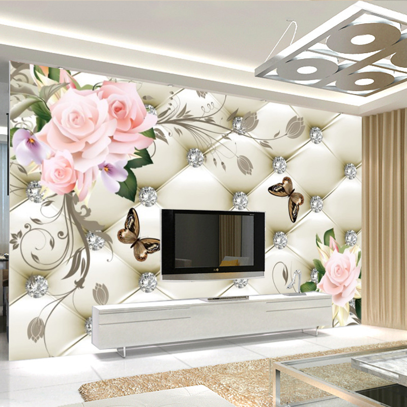 European Style Simple Wallpaper Soft Bag 3D TV Backdrop Mural Sofa Bedroom Bedside Seamless Wall Cloth