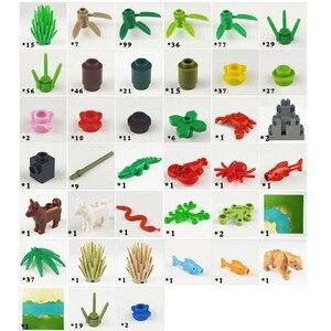 Image 5 - Rainforest Animal Fish Grass Tree zestaw klocków z podstawą City MOC akcesoria części cegły DIY zabawki dla dzieci prezenty