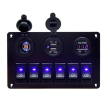 цена на 12V 6 Gang Car Blue LED Circuit Rocker Switch Panel Dual USB Charger Marine Boat  Rocker Switch Control Panel Set