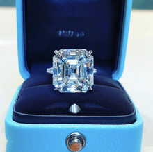 Original 925 Silver square ring Asscher cut Created Moissanite Wedding Engagement Cocktail Women topaz Rings finger Fine Jewelry