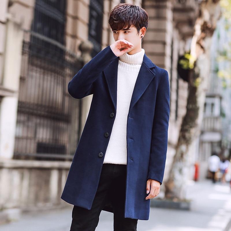 Wool Blend Men's Coat Woollen Overcoat Winter Autumn Men Coat Fashion Brand Clothing Lined Warm Woolen Overcoat Male MOOWNUC 5XL - 2