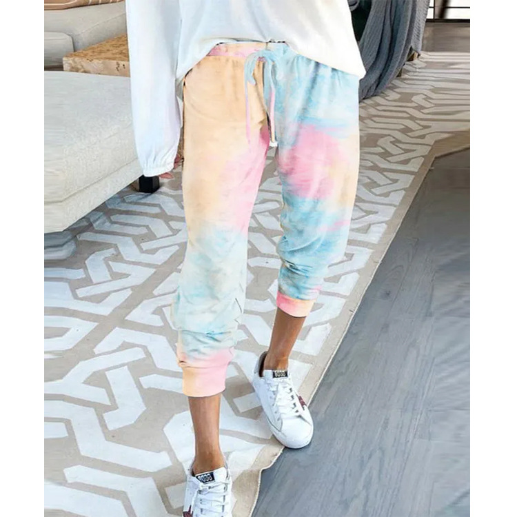WEPBEL Women Pencil Pants Elastic Tie-Dye Printed High Waist Casual Capri Pants Trousers Summer