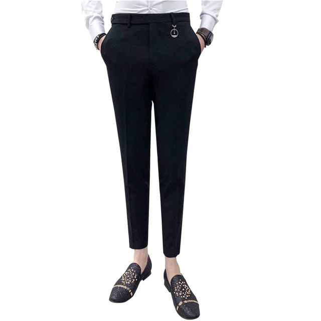 Mens Social Pants White Pants Mens British Style Trousers Mens Green Pants Office Dress Slim Fit Tight Red Social Club Pink 2020 5
