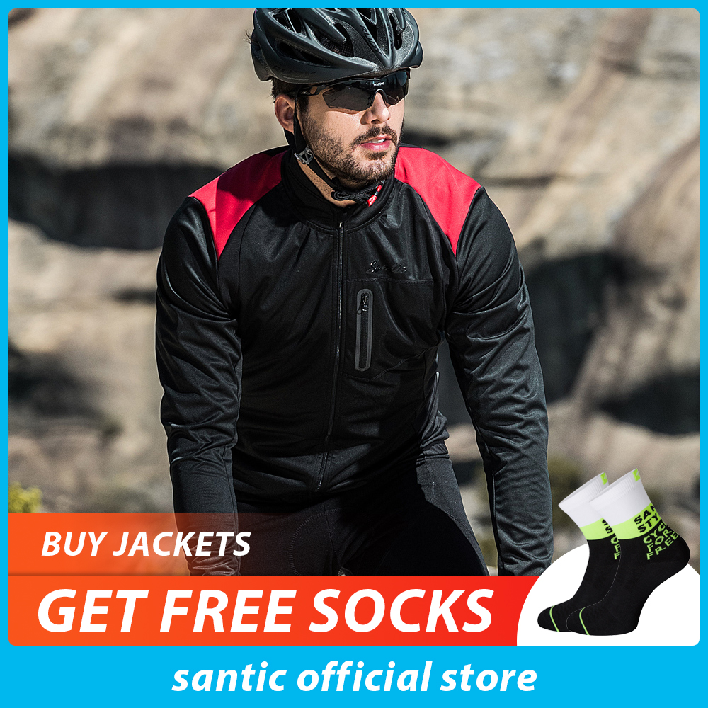Santic Men Autumn winter Cycling Jacket Windproof MTB Jackets Coat Keep Warm Breathable And Comfort Black