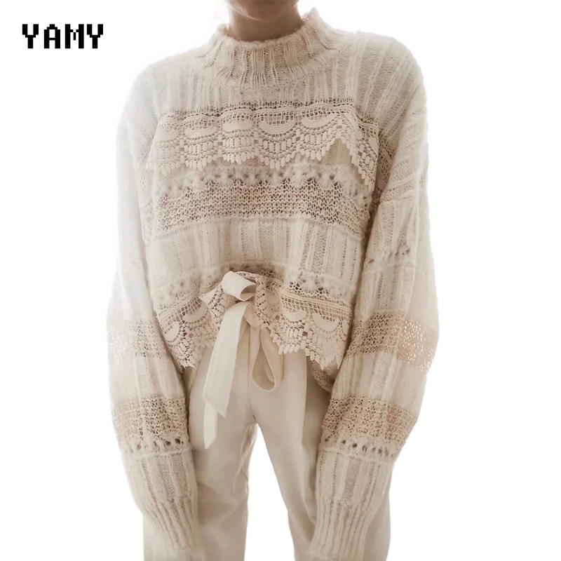 Fashion Womens Winter Sweaters Long Sleeve Chic White Knit Pullover Hollow Out Casual Jumper Streetwear Womens Winter Clothes