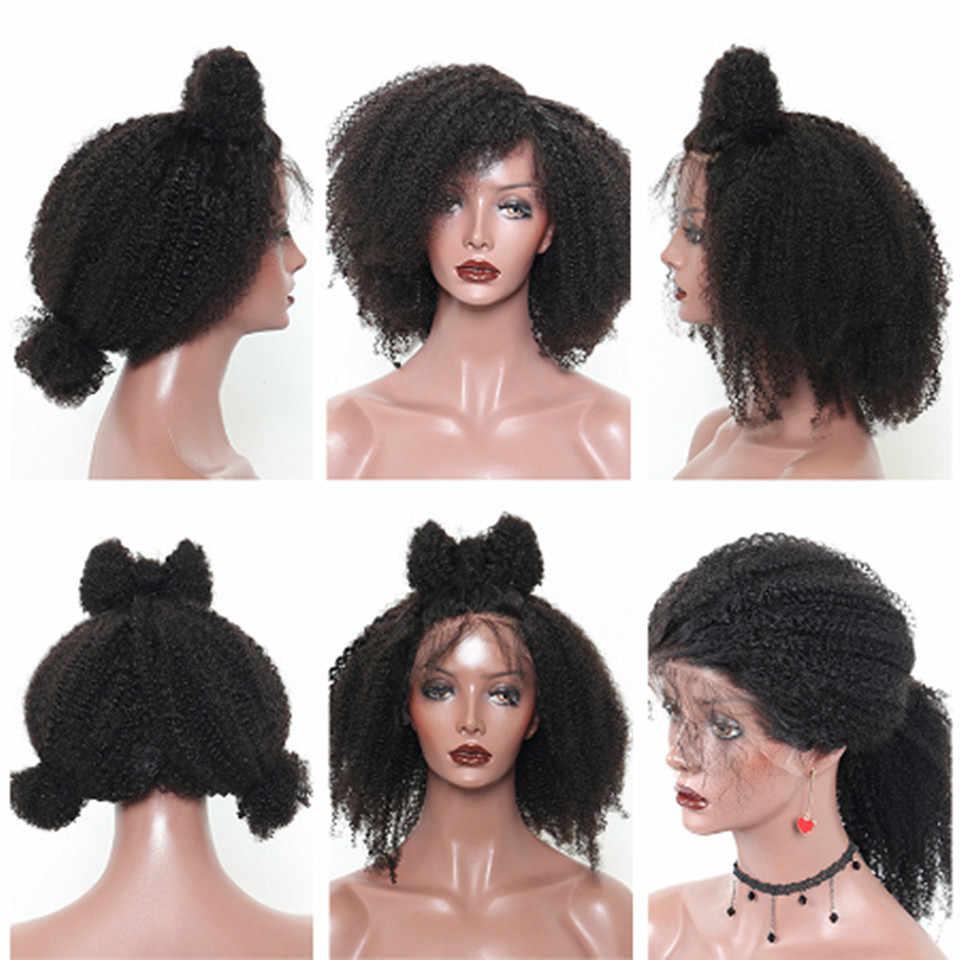 Afro perwersyjne kręcone ludzkie włosy peruka krótki Bob 360 koronki przodu peruka Glueless brazylijski koronki przodu peruki wysokiej gęstości dla czarnych kobiet