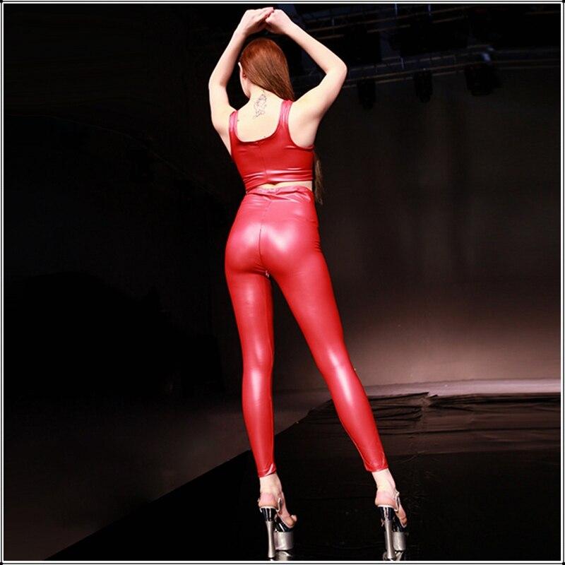 Image 4 - Sexy rouge Latex PU Faux cuir pantalon maigre ouvert entrejambe  Leggings femmes taille haute Invisible fermeture éclair noir  personnalisé pantalon mincePantalons et corsaires