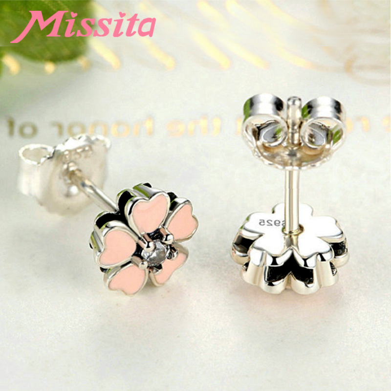 MISSITA 100 925 Sterling Silver Lovely Pink Flower Earrings For Women Silver Jewelry Brand Wedding Stud Earrings HOT Sale in Stud Earrings from Jewelry Accessories