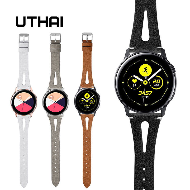 UTHAI Genuine Leather Watch Strap 20MM 22MM For Samsung Galaxy Watch 42mm 46mm S2 S3 Sport For Amazfit WatchBand Quick Release