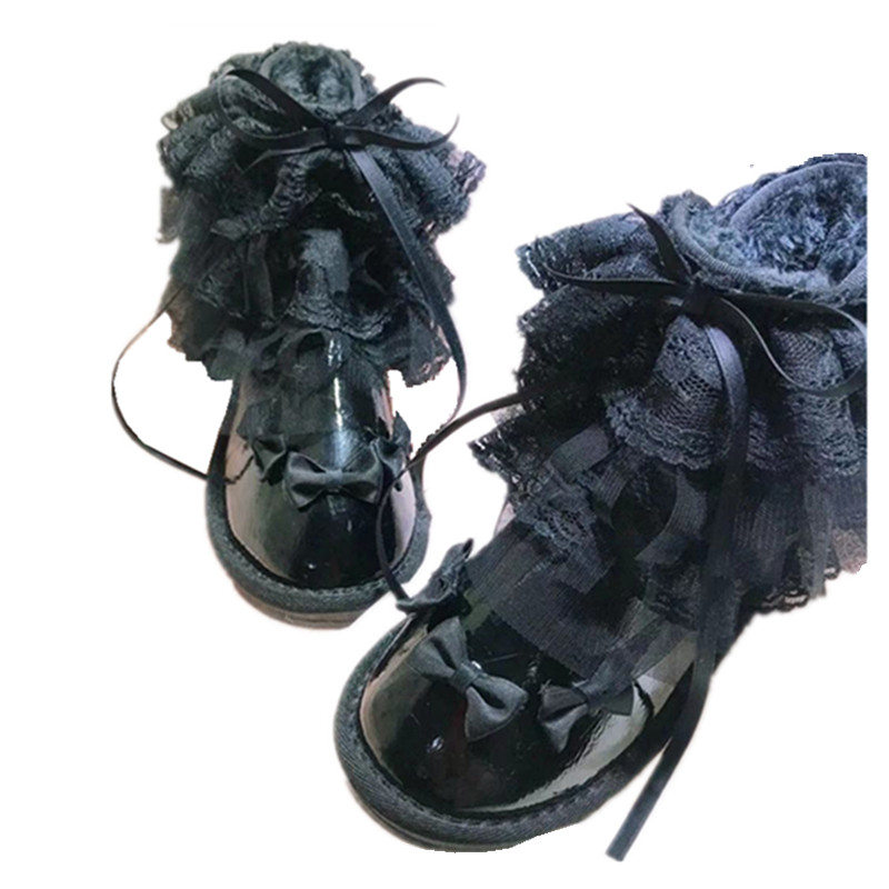 Gothic black ruffled round bow shoes punk Lolita lolita lace snow boots set foot low tube butterfly female boots cos Lolita loli