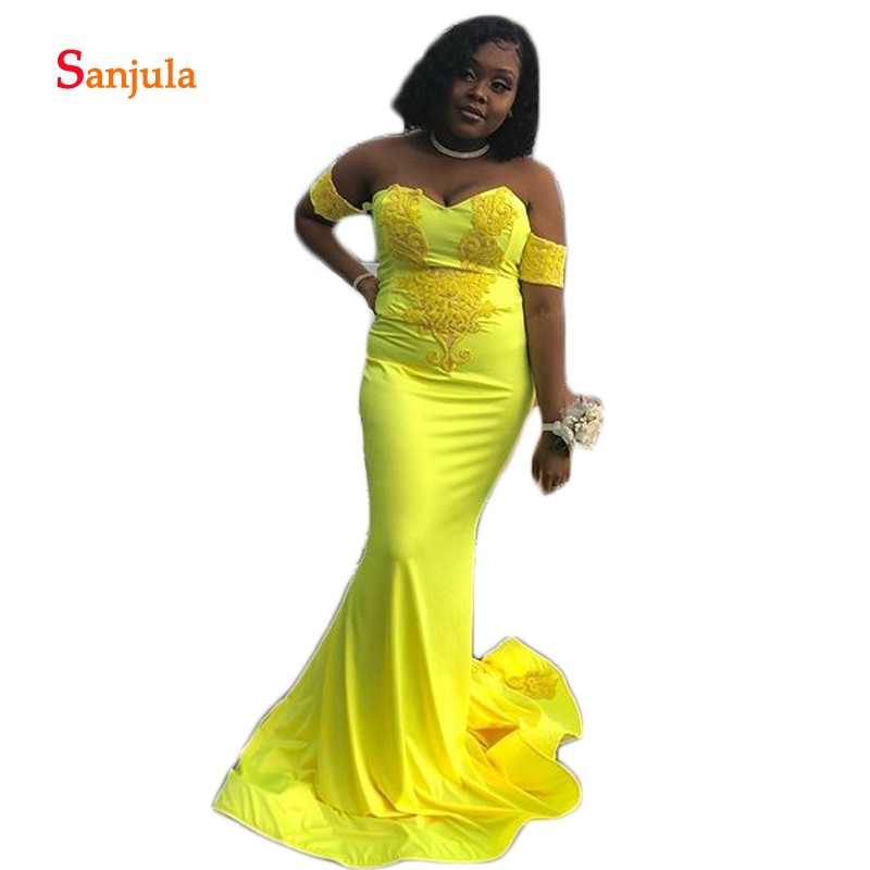 Bright Yellow Spandex   Prom     Dresses   Long Sweetheart Off the Shoulder Black Girls   Prom   Gowns 2019 Appliques Graduation Wear D1181