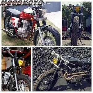 Image 5 - שחור צהוב עדשת אופנוע רטרו משולש פנס אמבר 12V בציר פנס עבור מותאם אישית אופני ופר הקפה רייסר אוניברסלי
