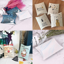 5PCS Christmas Candy Box Christmas Eve Gift Box Cartoon Gift Packaging Pillow Box Party Chocolate Candy Biscuit Pillow Box