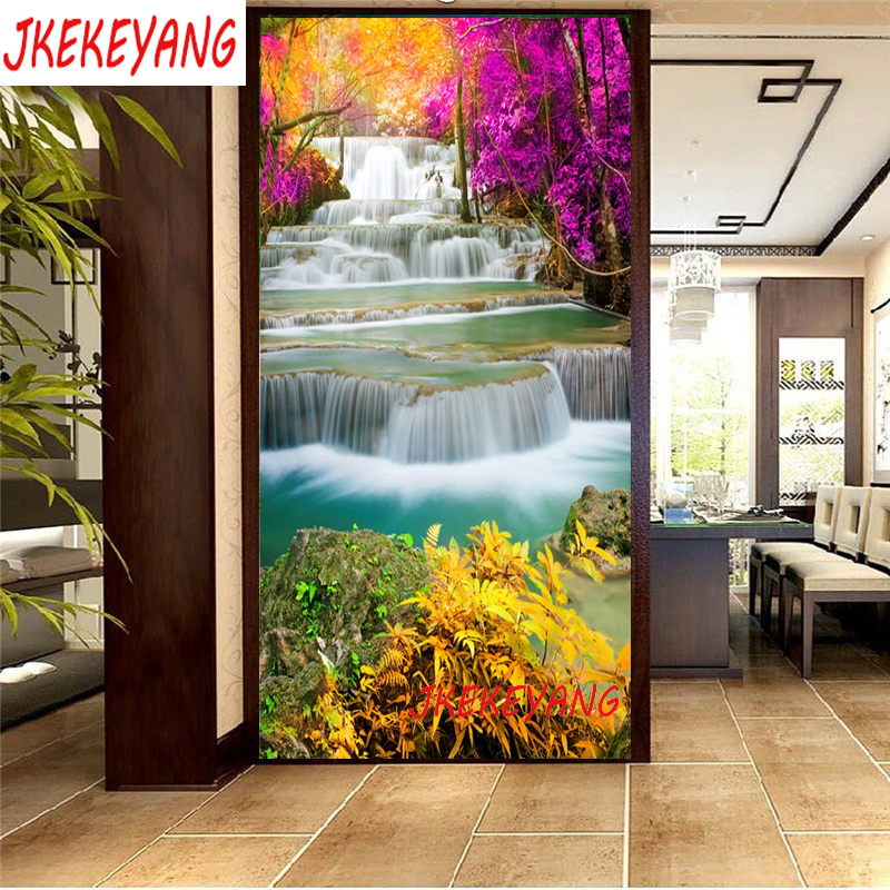 Large 5D Diy diamond painting Beautiful waterfall Diamond Mosaic Rhinestone Embroidery cross stitch Y3634(China)