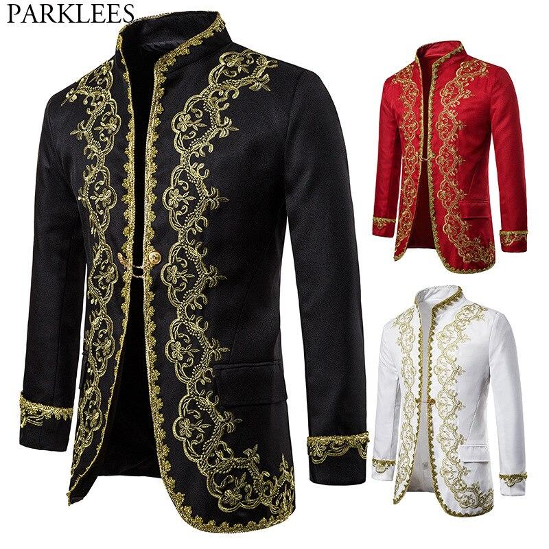 Gold Embroidery Luxury Blazer Jacket Men Stylish Baroque Style Palace Costume Homme Stage Prom Show Black Dress Blazer Masculino