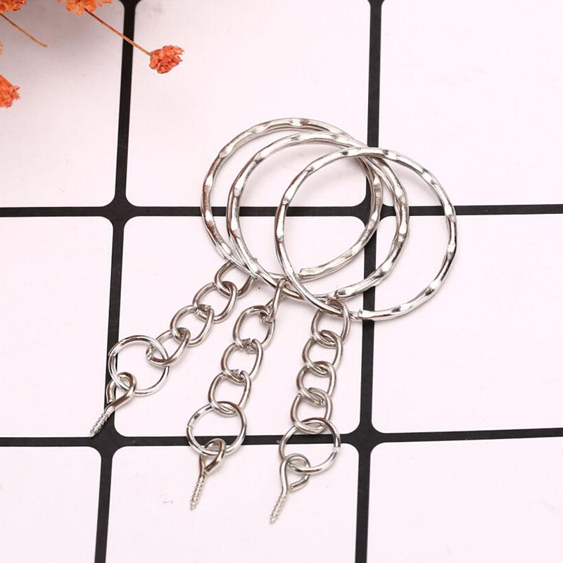 40Pcs /set Polished Key Ring Screw Eye Short Chain Split Ring Connector DIY Jewelry  Keychain Keyfob Accessories 6