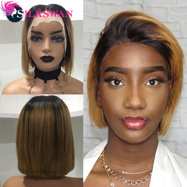Silkswan Brasilianische Gerade Haar 13*4 Spitze Front perücken 1b/27 menschenhaar perücken für frauen Remy Haar 150% dichte Kurze Haare Perücke