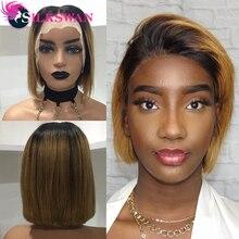 Silkswan brezilyalı düz saç 13*4 dantel ön peruk 1b/27 İnsan saç peruk kadınlar için Remy saç 150% yoğunluk kısa saç peruk