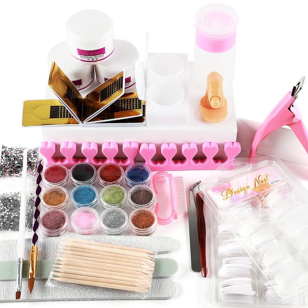 Acrylic Nail Art Manicure Kit 12 Colors Nail Glitter Powder Decoration Acrylic Pen Brush Nail Art Tool Kit Sets For Beginners