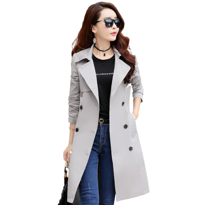 Spring Autumn Trench Coat Slim Single Breasted Trench Coat Woman Trench Coat Long Women Windbreakers Plus Size Women Overcoats