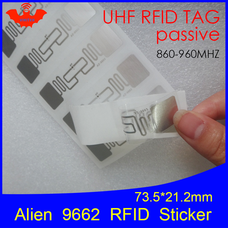 UHF RFID Tag Sticker Alien 9662 Wet Inlay 915mhz 900 868mhz 860-960MHZ Higgs3 EPCC1G2 6C Smart Adhensive Passive RFID Tags Label