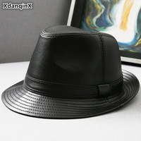 XdanqinX Real Genuine Leather Hat Men's Sheepskin Leather Fedoras Autumn Winter Men Jazz Hats Fashion Trend Brands Leather Caps