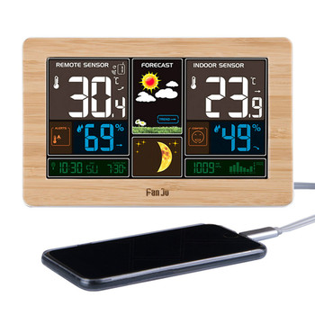 Weather Forecast LED Screen Alarm Clock Calendar Moon Phase Digital Watch Electronic Desk Barometer Temperature Humidity Sensor