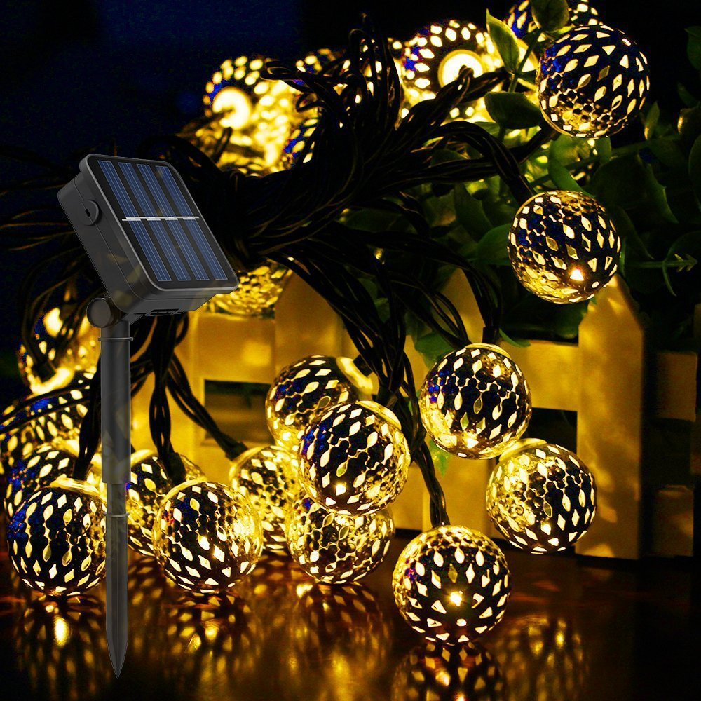 Solar Moroccan Wrought Iron Hollow Ball LED String Lights Christmas Lights Outdoor Decoration For Holiday Wedding Halloween