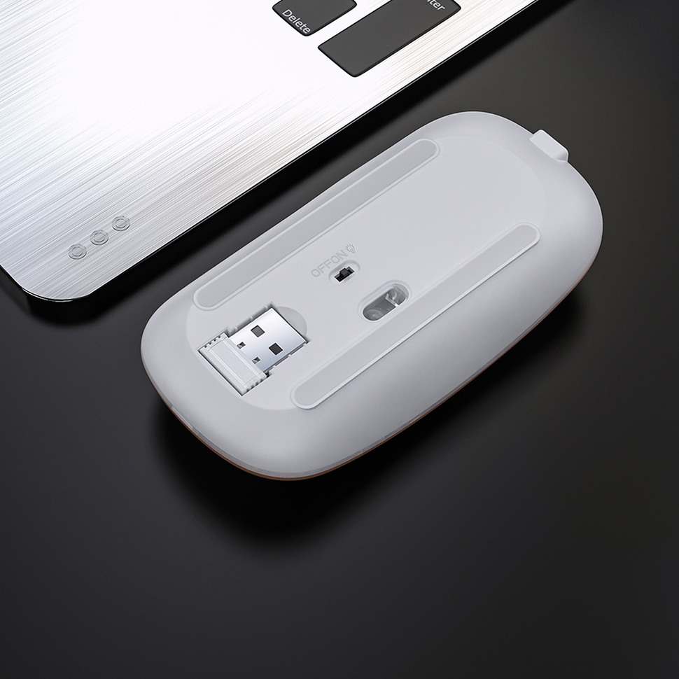 Image 4 - Перезаряжаемая Беспроводная Бесшумная светодиодный компьютерная  мышь с подсветкой USB оптическая эргономичная игровая мышь компьютерная  мышь для ПК on AliExpress