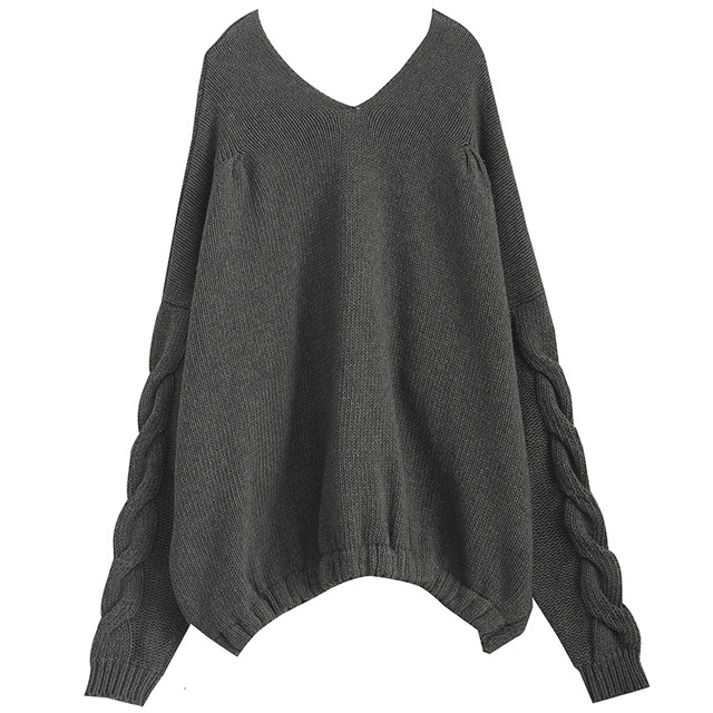 [EAM] Big Size Oversize Knitting Sweater Loose Fit V-Neck Long Batwing Sleeve Women New Fashion Tide Autumn Winter 2019 1B621 26
