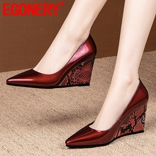 Women Shoes Pointed-Toe High-Heels Genuine-Leather New-Fashion EGONERY Pu Spring Mixed-Colors