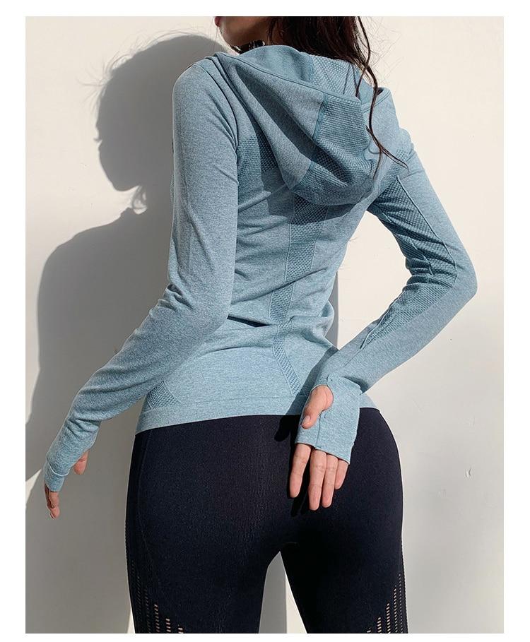 Куртка для бега Женская толстовка рубашки йоги Спортивная одежда