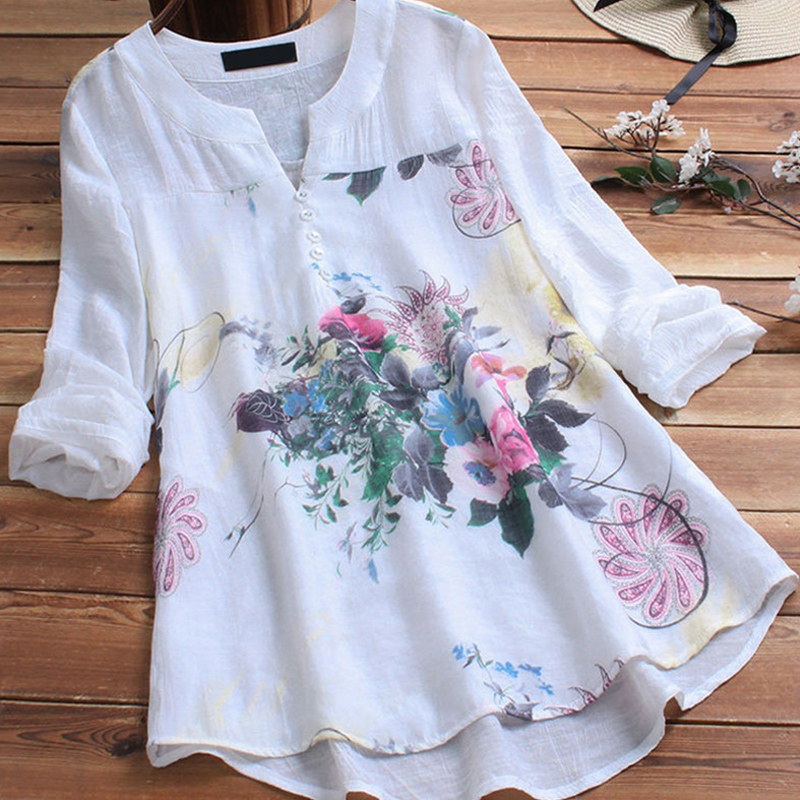 Women Cotton Linen Floral Print Shirt Top Plus Size 5XL Patchwork Tunic O-neck Long Sleeve Female Blouse 2019 Summer Lady Shirts
