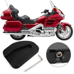Worldmotop Motorcycle Kickstand Pad Support Kickstand Foot Pad for Honda GL1800 Goldwing 1800 F6B 2002-2014 2016 2017Enlarger Extension Plate Pad Stand black