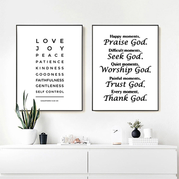 Bible Verse Canvas Prints Poster Wall Art Painting Faith Love Peace Quote Home Living Room God Religious Decoration