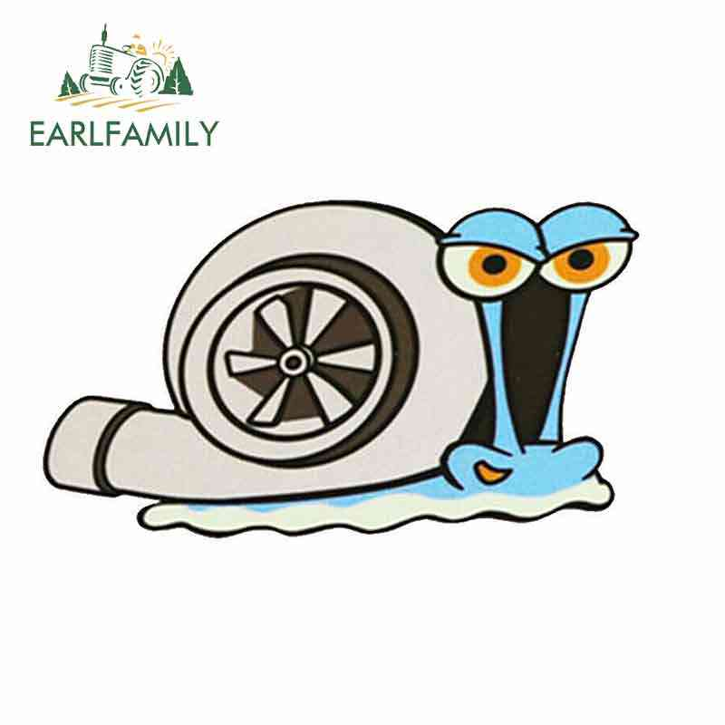 EARLFAMILY 13cm x 12.9cm Funny Turbo Snail Car Stickers Vinyl Decal Auto Car Bumper Window Motorcycle SpongeBob Cartoon Sticker