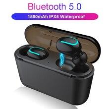 블루투스 5.0 이어폰 TWS 무선 헤드폰 블루투스 이어폰 핸즈프리 헤드폰 스포츠 이어 버드 게임용 헤드셋 전화 PK HBQ